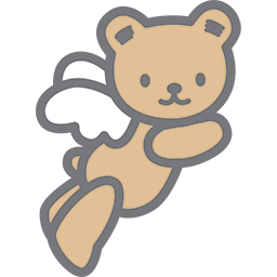 Flying Bear Angel Emoticon