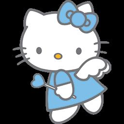 Blue Kitty Angel 2 Emoticon