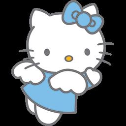 Blue Kitty Angel 3 Emoticon