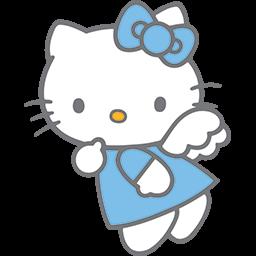 Blue Kitty Angel 4 Emoticon