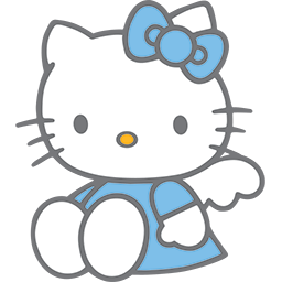 Sitting Blue Kitty Emoticon