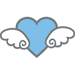 Flying Blue Heart Emoticon