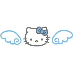 Kitty Blue Wings Emoticon