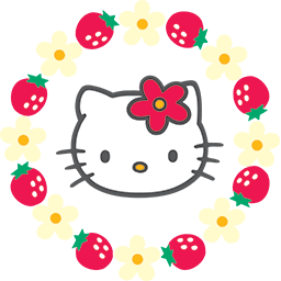 Kitty Strawberries Flowers Emoticon