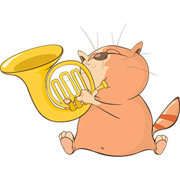 French Horn Cat Emoticon