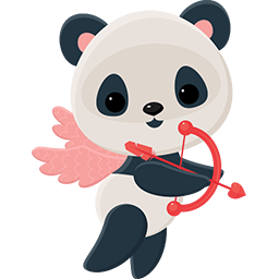 Cupid Panda Emoticon