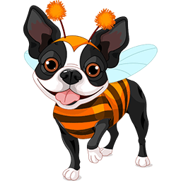 Bumblebee Boston Terrier Emoticon