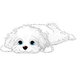 Resting Puppy Maltese Emoticon