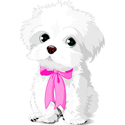 Pink Bow Maltese Emoticon